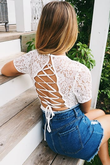 DANI DYER WHITE LACE UP BACK LACE BODYSUIT
