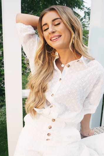 DANI DYER WHITE BRODERIE ANGLAISE TORT BUTTON SHIRT