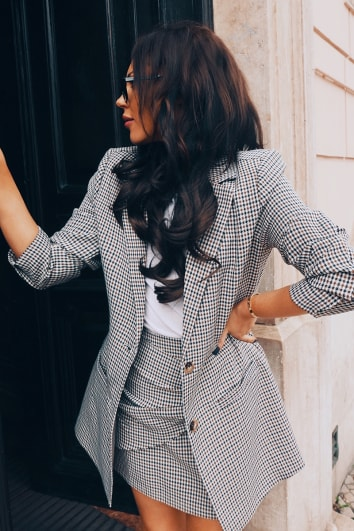 LORNA LUXE 'SORRY I MISSED YOUR CALL' CHECK BROWN BLAZER