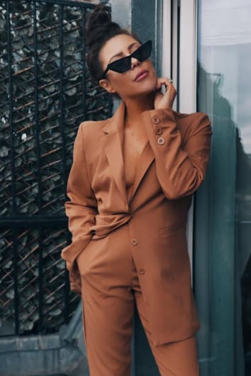 LORNA LUXE 'ALREADY TAKEN' TAN SUIT BLAZER