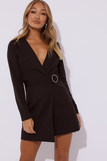 REGINA BLACK DIAMANTE BELTED BLAZER DRESS