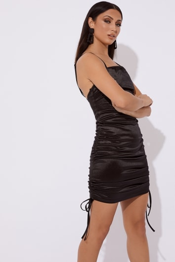 BRYLLIE BLACK SATIN RUCHED MINI DRESS
