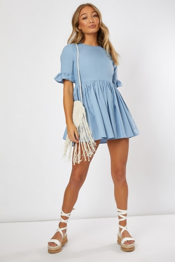 MARGGIE CHAMBRAY BLUE POPLIN FRILL SLEEVE SMOCK MINI DRESS
