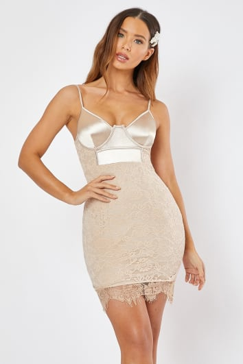 GREGORIA LIGHT GOLD UNDERWIRED LACE AND SATIN MINI DRESS