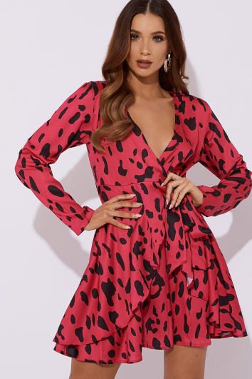ISSEY PINK DALMATIAN SATIN WRAP FRONT SKATER DRESS