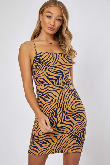 AILSA PURPLE AND YELLOW ZEBRA LACE UP BACK MINI DRESS