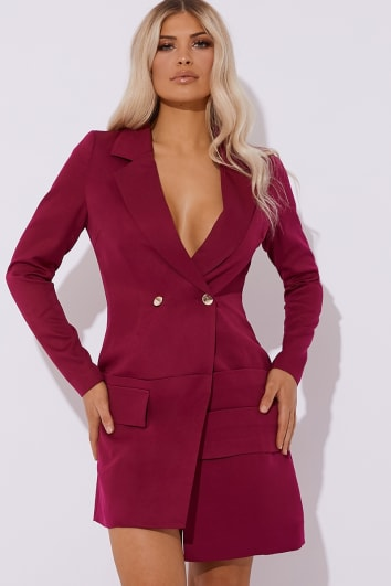BIBIANA RASPBERRY RUCHED BLAZER DRESS