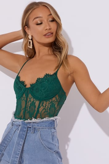 LARGO GREEN CAMI LACE BODYSUIT