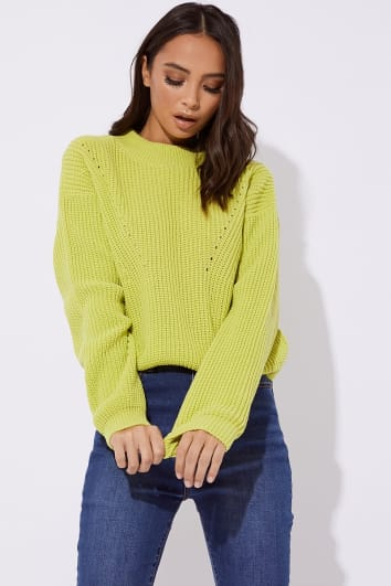 HARIET LIME CREW NECK RIBBED KNITTED  JUMPER