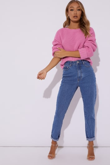 HOLLIE PINK RIBBED CREW NECK OVERSIZED JUMPER