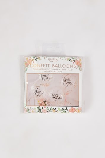 GINGER RAY PINK 5 PACK TEAM BRIDE CONFETTI BALLOONS