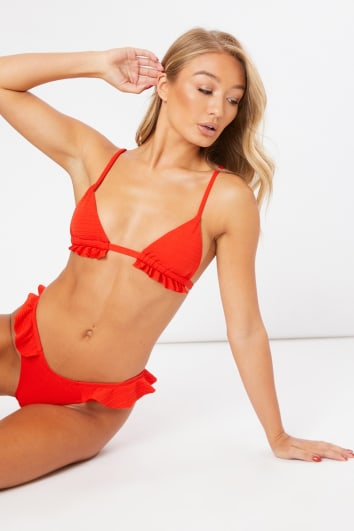 ANTHEAH RED TEXTURED FRILL BIKINI SET