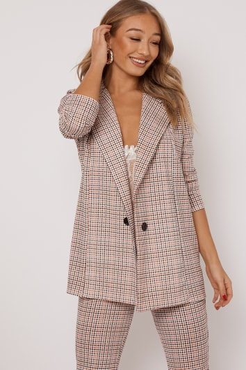 SLOAN ORANGE DOGTOOTH CHECK BLAZER