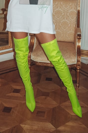 KYKIA YELLOW NEON OVER THE KNEE BOOTS