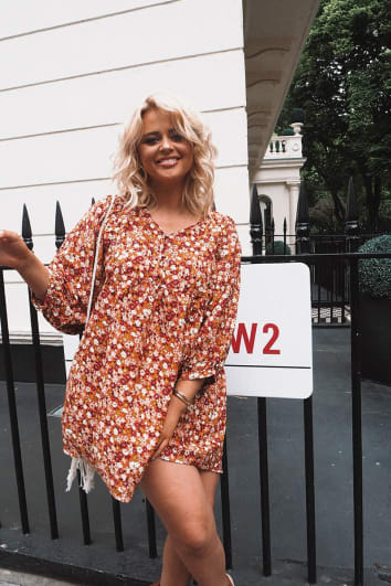 EMILY ATACK ORANGE FLORAL WIDE SLEEVE MINI DRESS