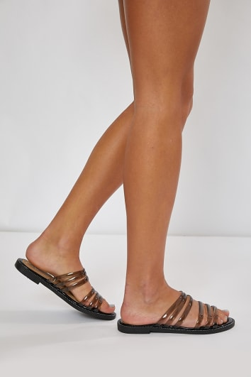 JUSTINIA BLACK CLEAR DOUBLE STRAP SLIDERS