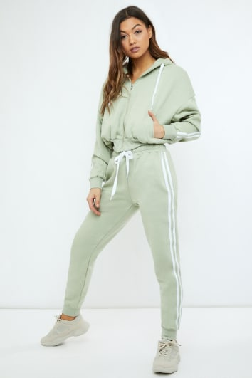 Ryna SAGE GREEN OVERSIZED CONTRAST STRIPE JOGGERS