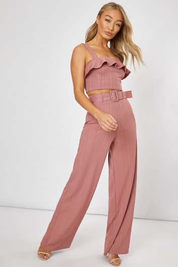 BILLIE FAIERS BLUSH PINK BANDAGE BELTED WIDE LEG TROUSERS