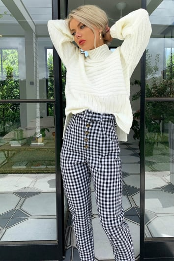 LAURA JADE BLACK GINGHAM BUTTON FRONT TROUSERS
