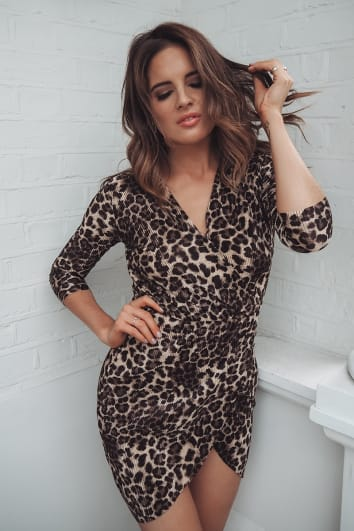 BINKY BROWN LEOPARD PRINT PLEATED WRAP DRESS