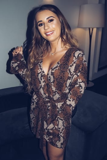 DANI DYER BROWN SNAKE PRINT FRILL WRAP DRESS