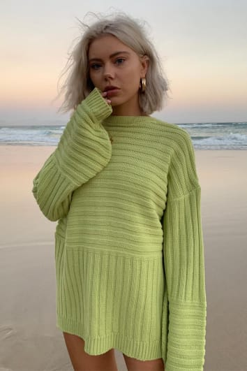 LAURA JADE LIGHT LIME PANELLED KNITTED JUMPER