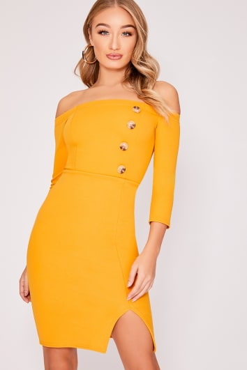 FINLIEH MUSTARD BARDOT HORN BUTTON MIDI DRESS