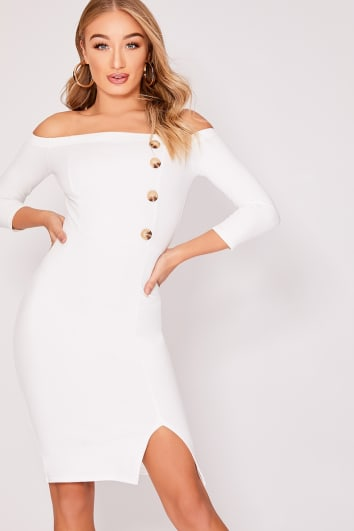 FINLIEH WHITE BARDOT HORN BUTTON MIDI DRESS