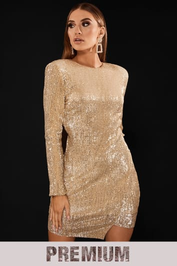 PREMIUM GOLD SEQUIN ASYMMETRIC MINI DRESS WITH OPEN BACK