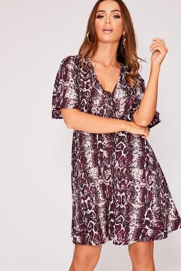 LOULOU PURPLE SNAKE PRINT TIE DETAIL SWING DRESS