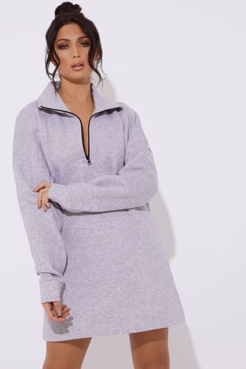 CALAIS GREY FLEECE LINED ZIP MINI DRESS