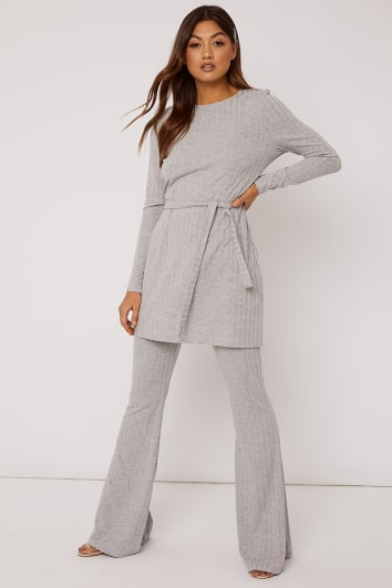 LEYDA GREY MARL RIBBED FLARE LEG TROUSERS