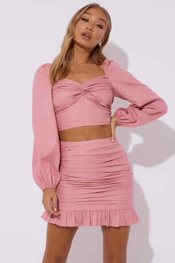 ORSALINE BLUSH RUCHED FRILL HEM MINI SKIRT