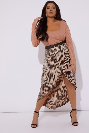 CURVE JALENAH BROWN ZEBRA WOVEN WRAP SKIRT