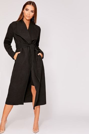 NIRVI BLACK BELTED WATERFALL JACKET