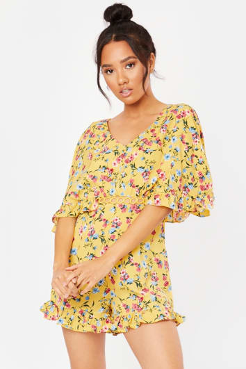 RISHIKA YELLOW FLORAL CUT OUT PLAYSUIT