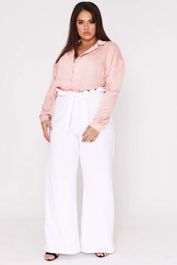 CURVE YAKAH WHITE FLARED HIGH WAISTED PAPERBAG TROUSERS