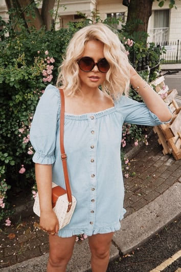 EMILY ATACK DENIM PUFF SLEEVE BUTTON DOWN DRESS
