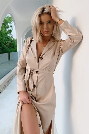 LAURA JADE NUDE SATIN BUTTON THROUGH MIDI SHIRT DRESS