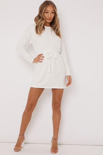 DEANIE OFF WHITE DRAWSTRING WAIST SWEATER DRESS