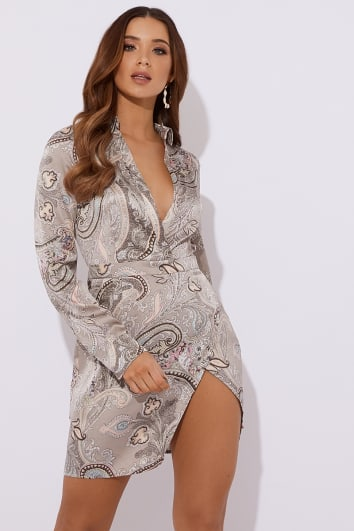 ANAFAA GREY PAISLEY SATIN SPLIT FRONT MINI DRESS