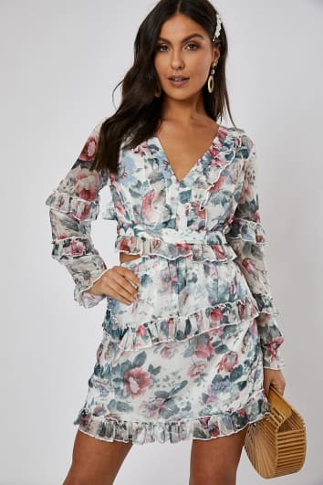 ABRILLE WHITE FLORAL CUT OUT WAIST DRESS