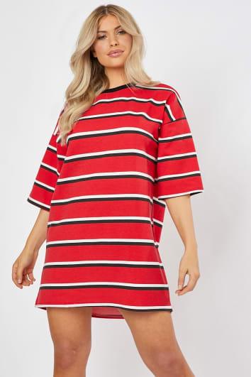 RUBENA RED STRIPE T SHIRT DRESS