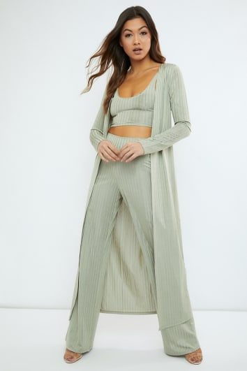 KAIMIE SAGE GREEN SLINKY RIBBED DUSTER