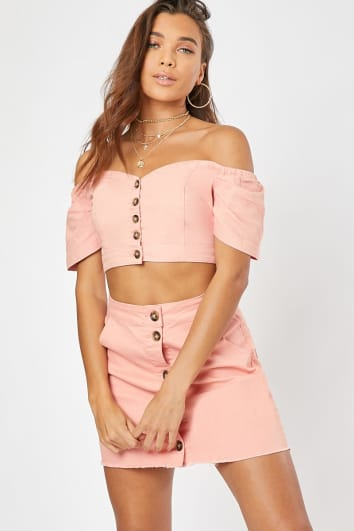 HALKY BLUSH BUTTON FRONT PUFF SLEEVE DENIM CROP TOP