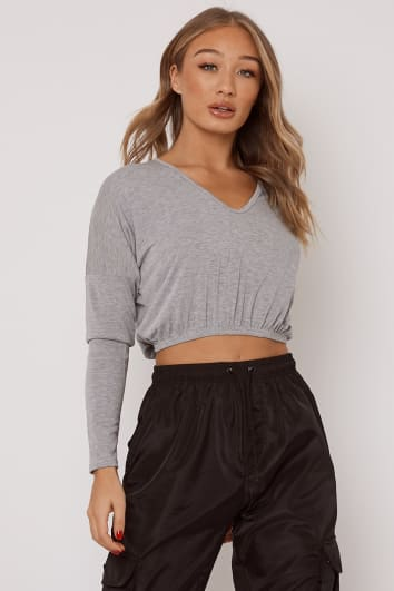 MILINI LIGHT GREY MARL V NECK ELASTICATED HEM CROP TOP