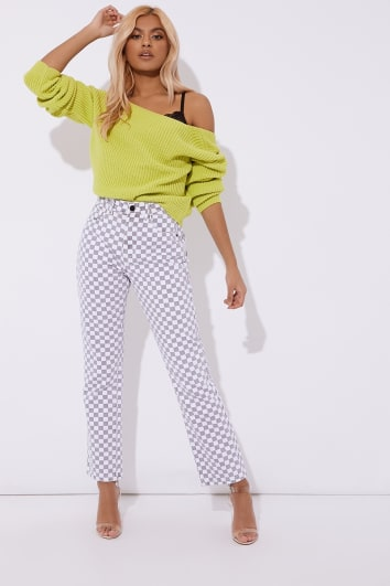 OMANDIA GREY CHECKERED JEANS