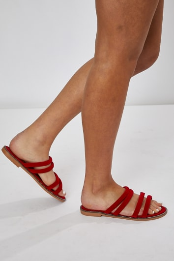 HENELY RED DOUBLE STRAP SLIDERS