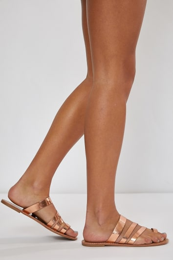KELEENI ROSE GOLD MULTI STRAP DETAIL SLIDERS