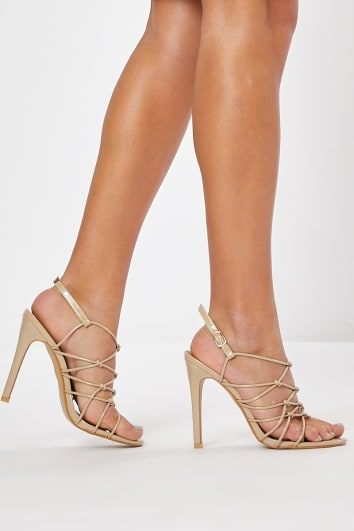 MEGS NUDE PATENT STRAPPY HEELS